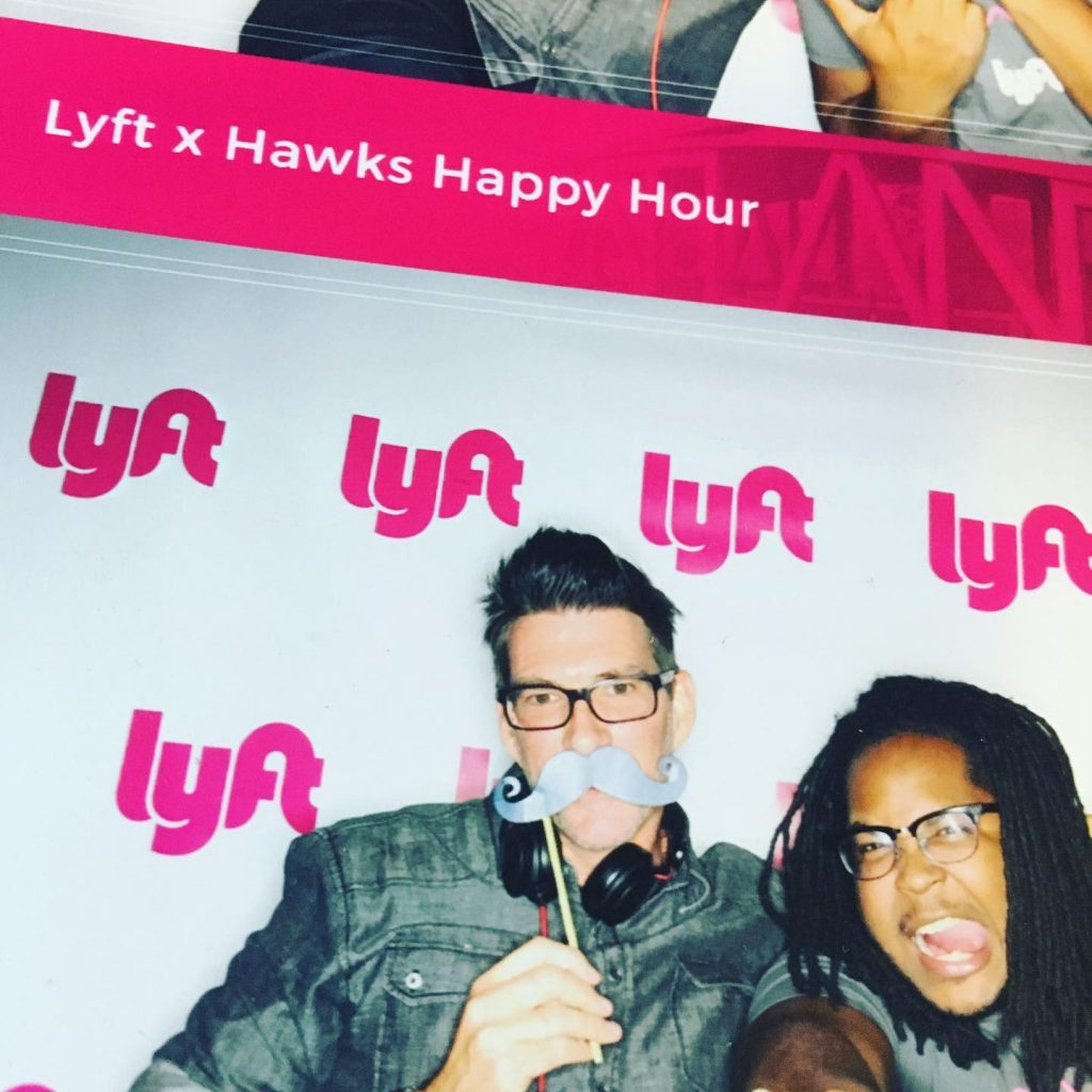 Ride share event with Lyft and the Hawks,. to promote safe rides home from the big game!